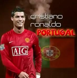 футболист Cristiano Ronaldo в красном